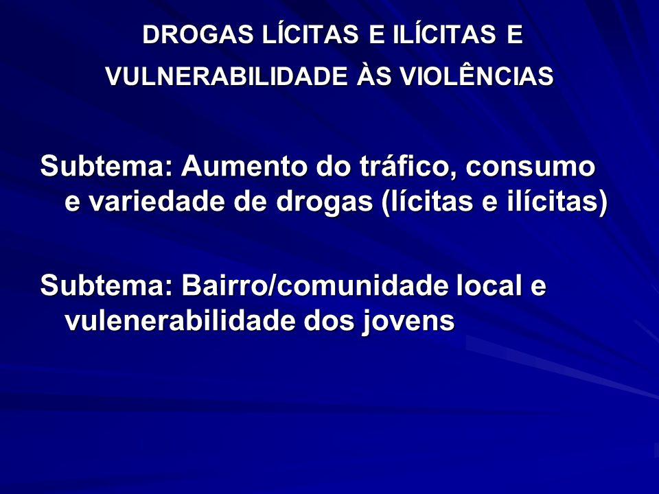 DROGAS LÍCITAS E ILÍCITAS E VULNERABILIDADE ÀS VIOLÊNCIAS