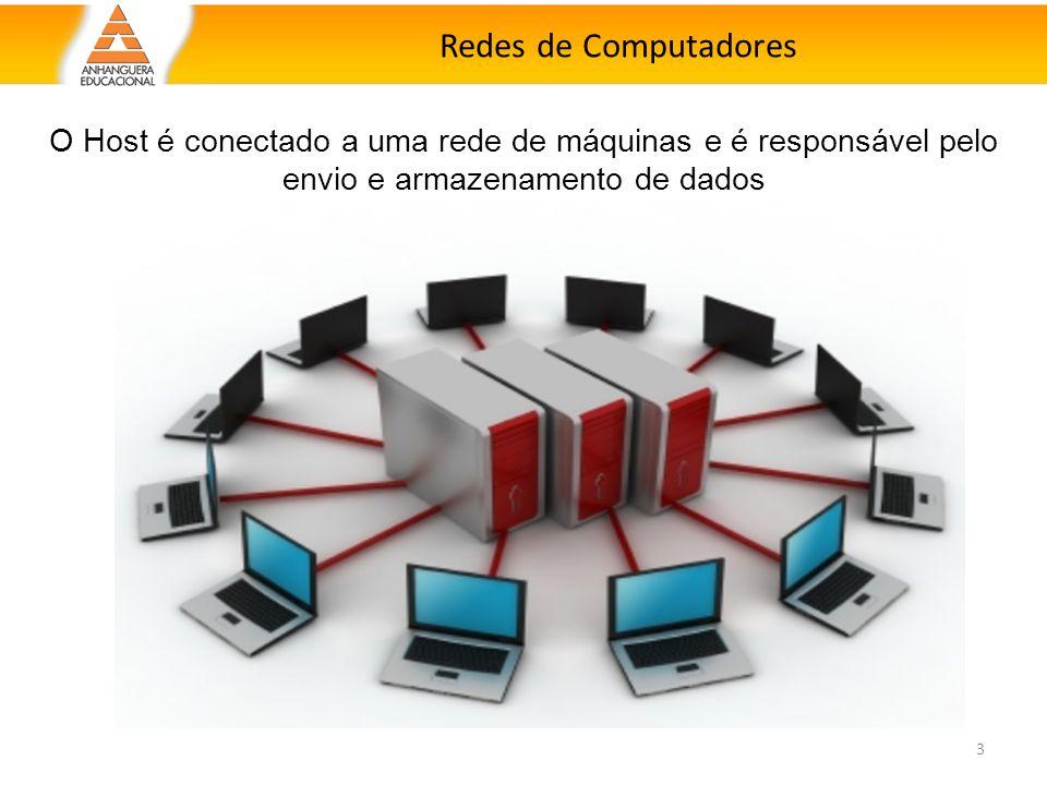 Redes de Computadores O Host é conectado a uma rede de máquinas e é responsável pelo envio e armazenamento de dados.