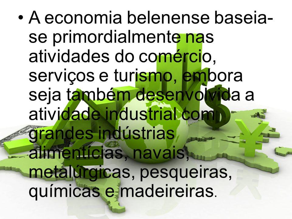 A economia belenense baseia-se primordialmente nas atividades do comércio, serviços e turismo, embora seja também desenvolvida a atividade industrial com grandes indústrias alimentícias, navais, metalúrgicas, pesqueiras, químicas e madeireiras.