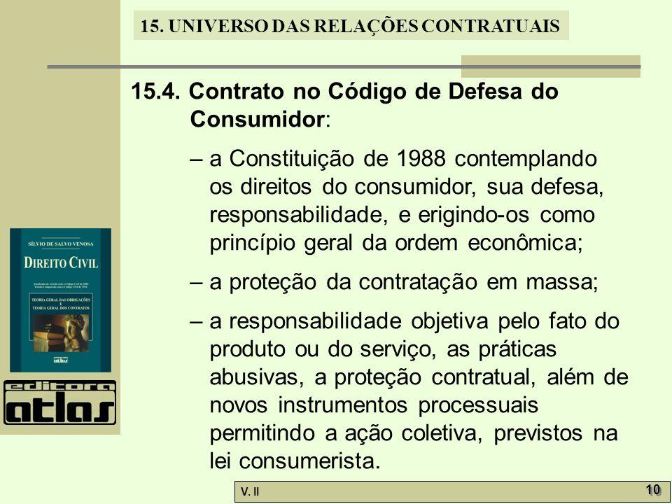 15.4. Contrato no Código de Defesa do Consumidor: