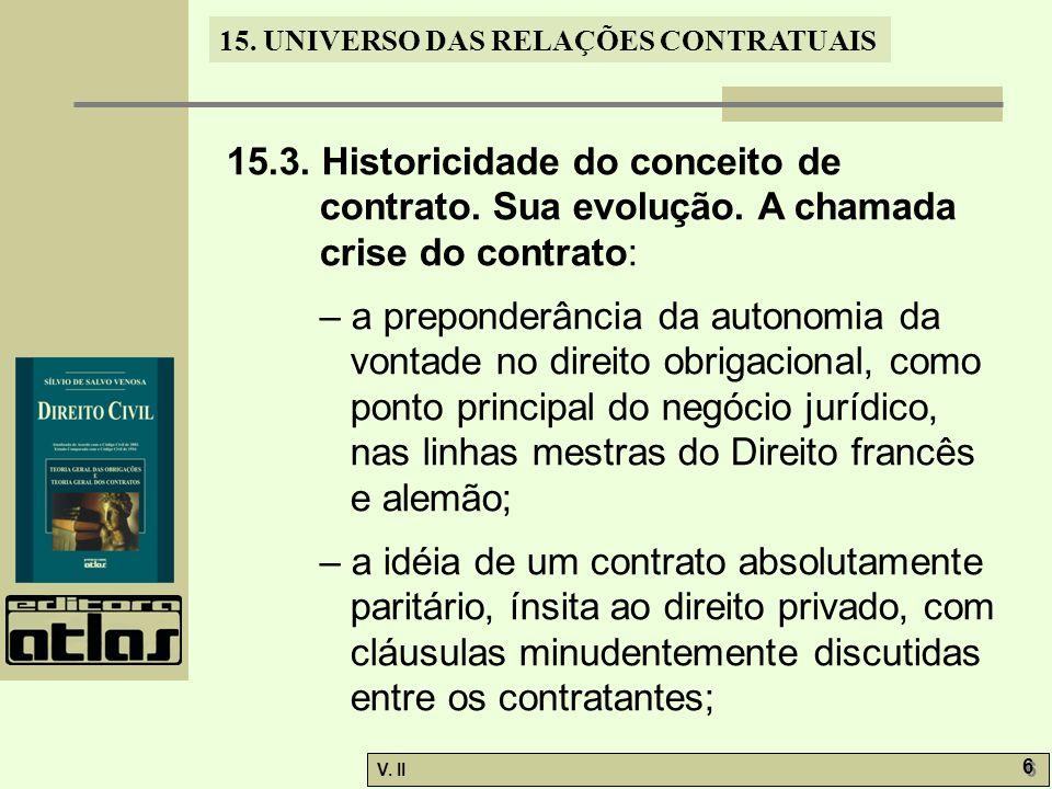 15. 3. Historicidade do conceito de contrato. Sua evolução