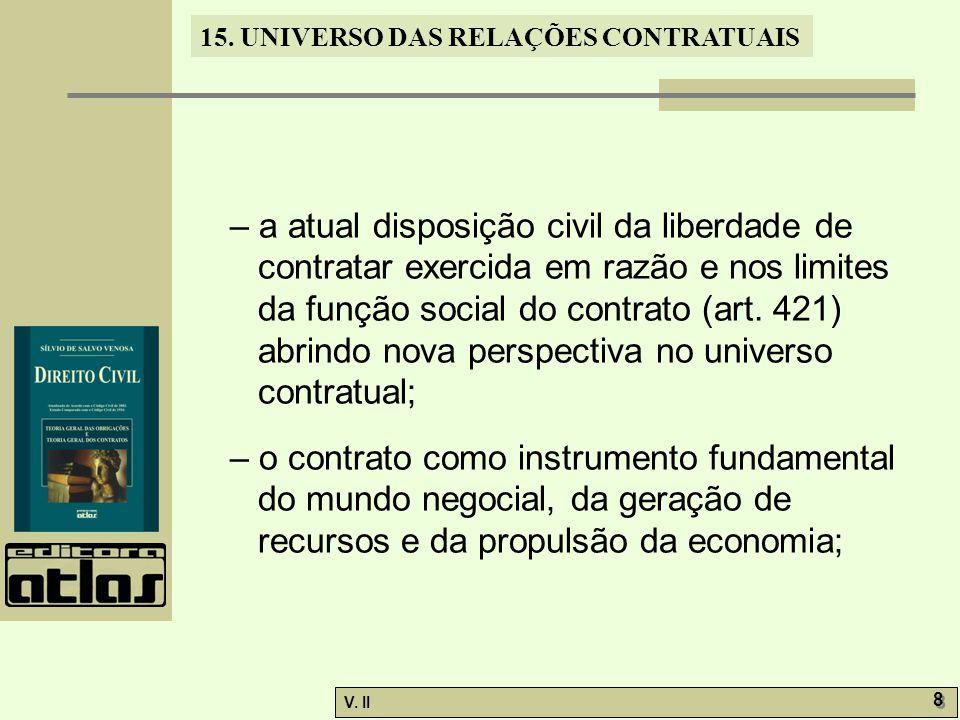 – a atual disposição civil da liberdade de contratar exercida em razão e nos limites da função social do contrato (art. 421) abrindo nova perspectiva no universo contratual;
