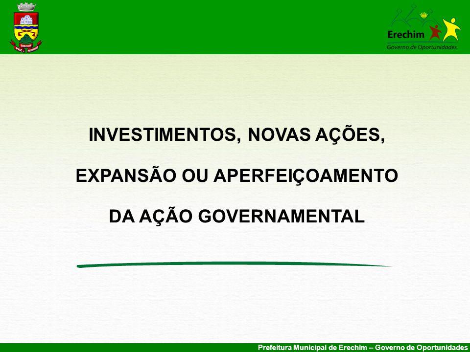 INVESTIMENTOS, NOVAS AÇÕES, EXPANSÃO OU APERFEIÇOAMENTO