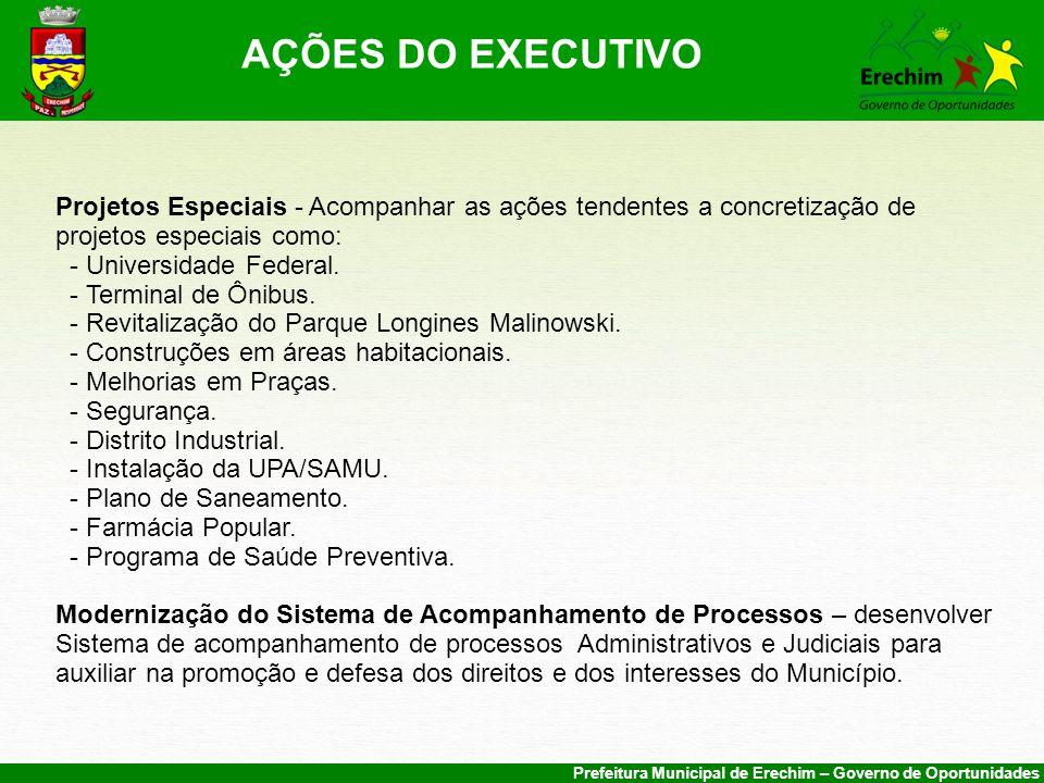 AÇÕES DO EXECUTIVO Projetos Especiais - Acompanhar as ações tendentes a concretização de projetos especiais como: