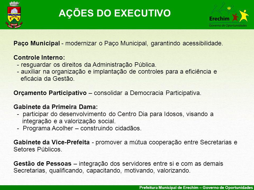 AÇÕES DO EXECUTIVO Paço Municipal - modernizar o Paço Municipal, garantindo acessibilidade. Controle Interno: