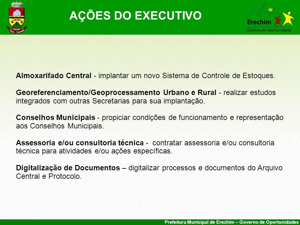 AÇÕES DO EXECUTIVO Almoxarifado Central - implantar um novo Sistema de Controle de Estoques.