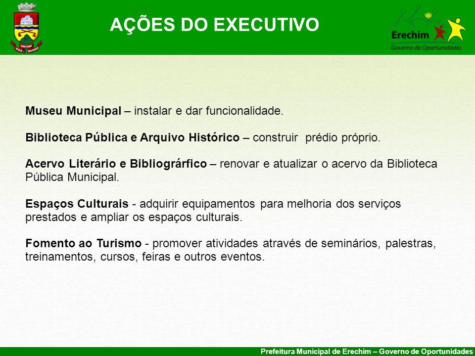 AÇÕES DO EXECUTIVO Museu Municipal – instalar e dar funcionalidade.