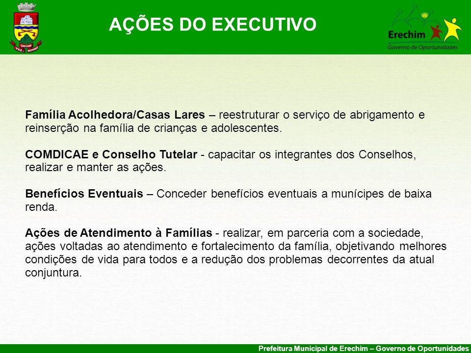 AÇÕES DO EXECUTIVO Família Acolhedora/Casas Lares – reestruturar o serviço de abrigamento e reinserção na família de crianças e adolescentes.