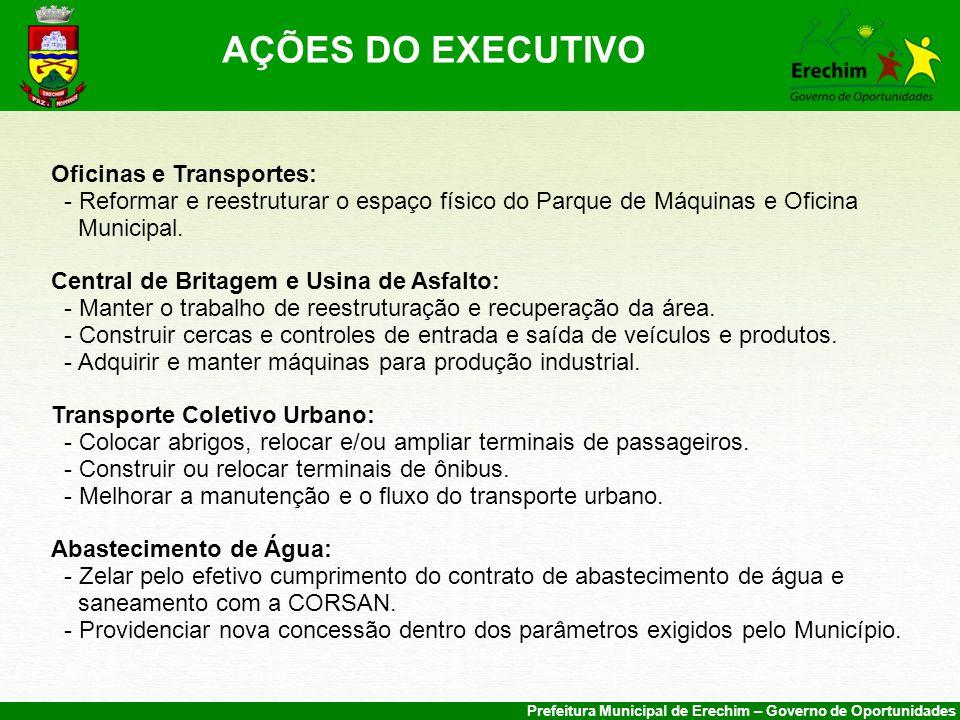 AÇÕES DO EXECUTIVO Oficinas e Transportes: