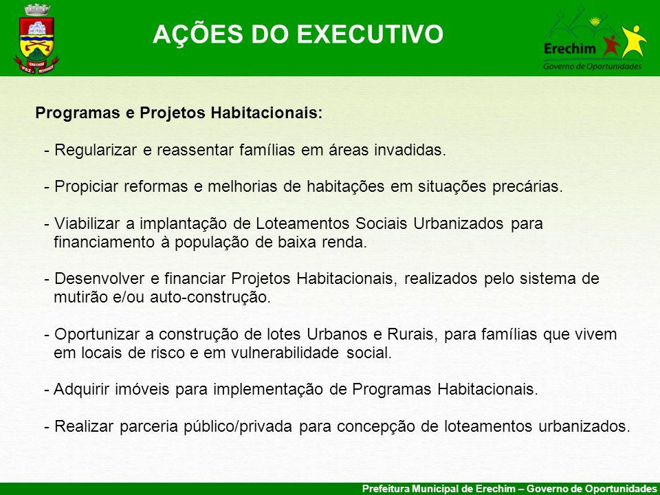 AÇÕES DO EXECUTIVO Programas e Projetos Habitacionais: