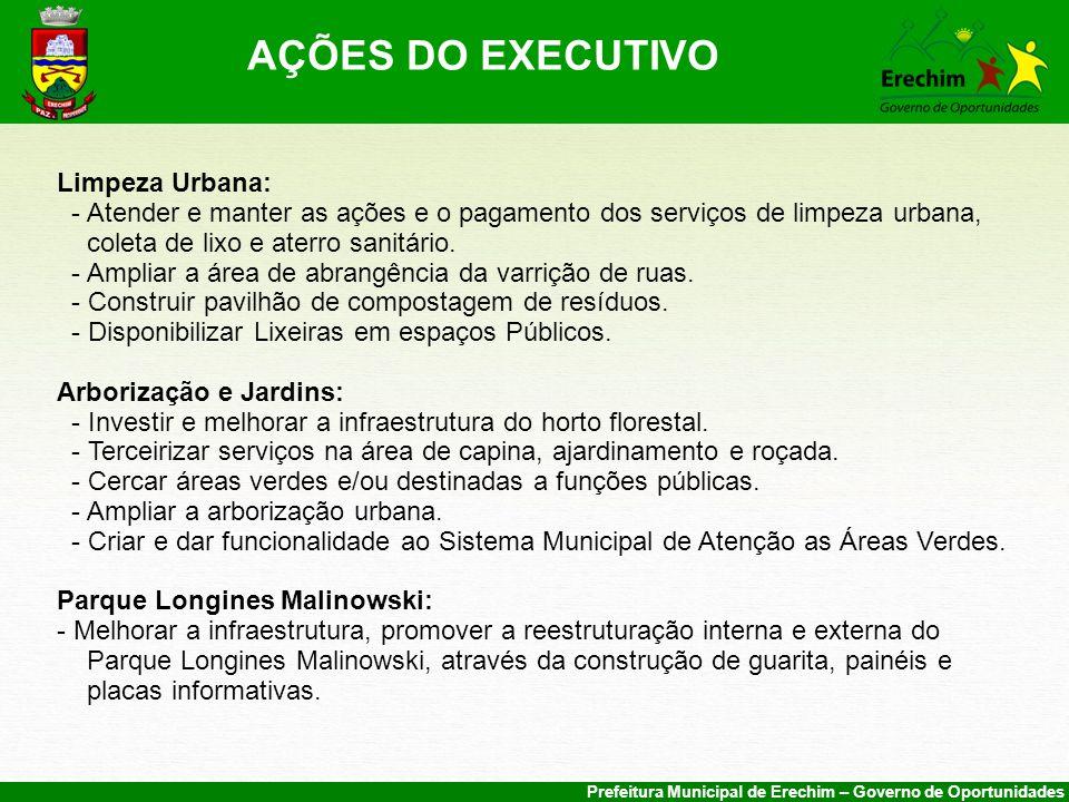 AÇÕES DO EXECUTIVO Limpeza Urbana: