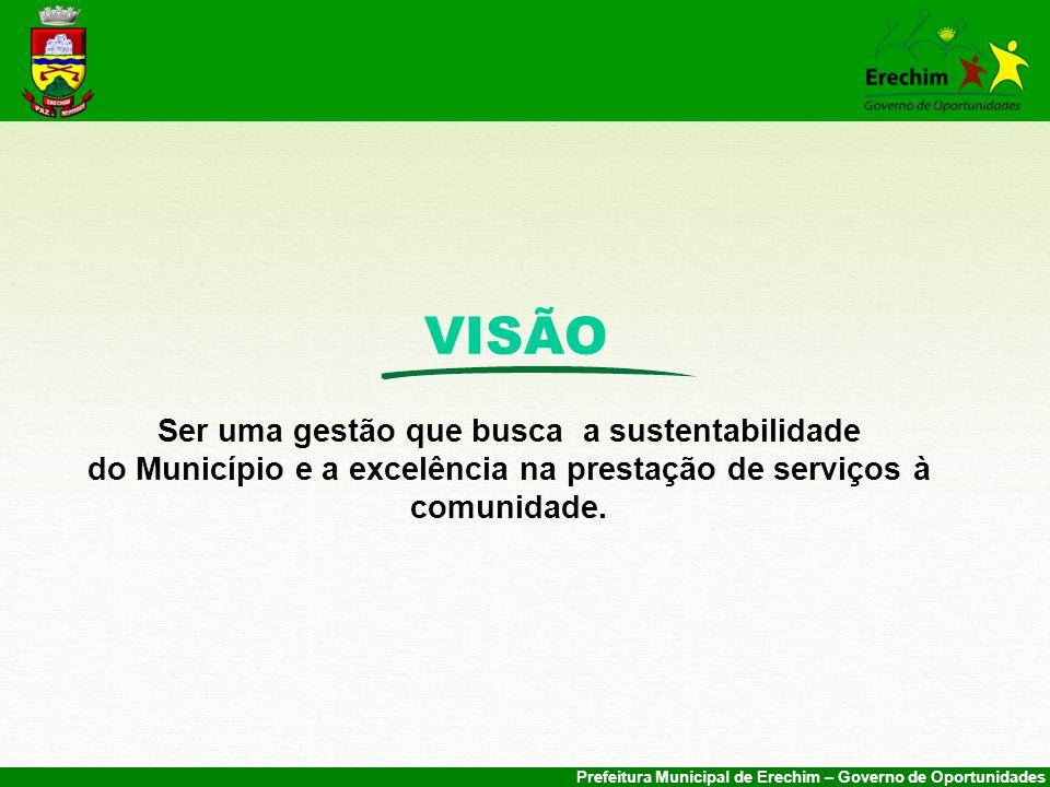 VISÃO Ser uma gestão que busca a sustentabilidade