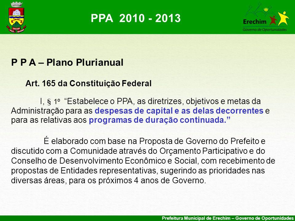 PPA 2010 - 2013 P P A – Plano Plurianual