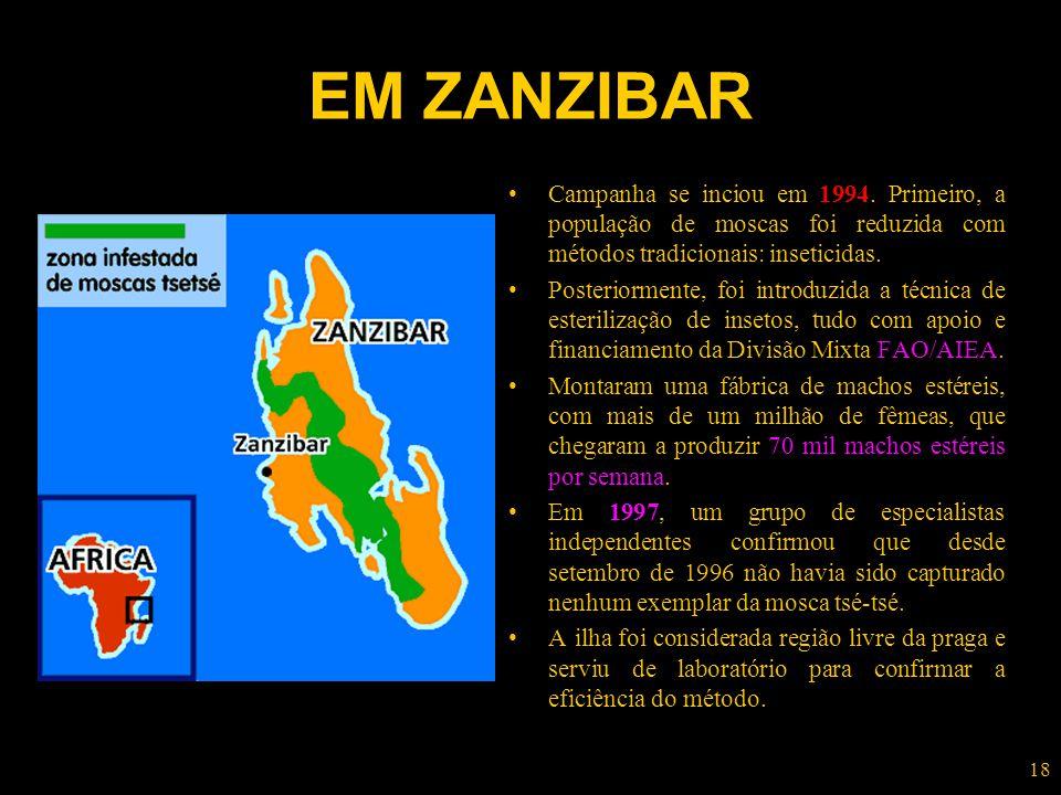 EM ZANZIBAR Campanha se inciou em 1994. Primeiro, a população de moscas foi reduzida com métodos tradicionais: inseticidas.