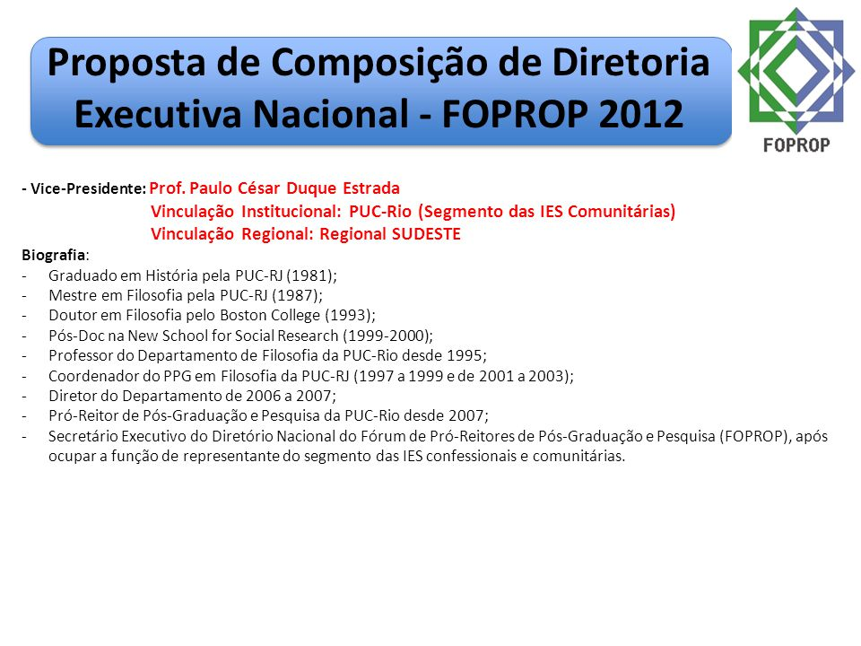 Proposta de Composição de Diretoria Executiva Nacional - FOPROP 2012