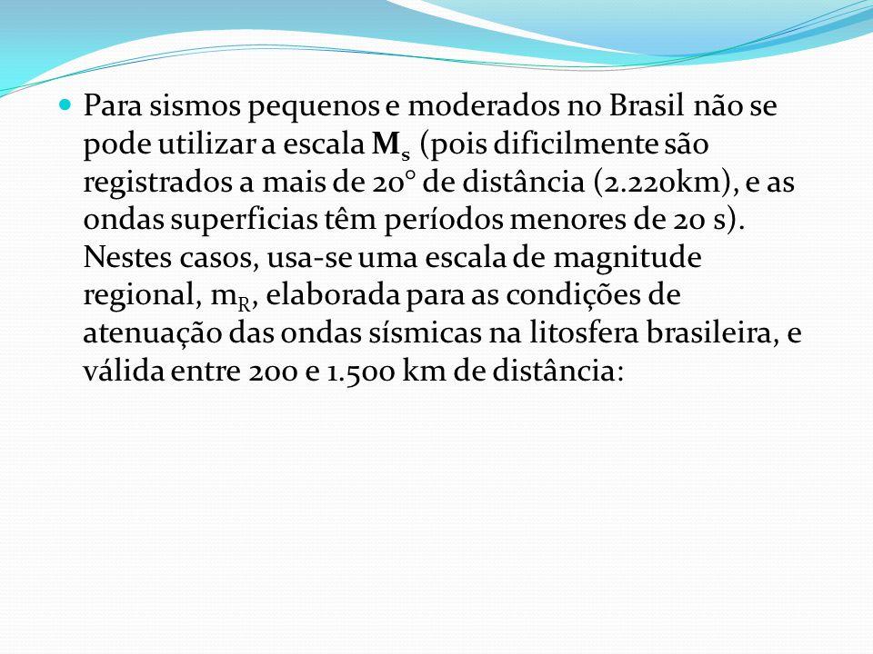 Para sismos pequenos e moderados no Brasil não se pode utilizar a escala Ms (pois dificilmente são registrados a mais de 20° de distância (2.220km), e as ondas superficias têm períodos menores de 20 s).