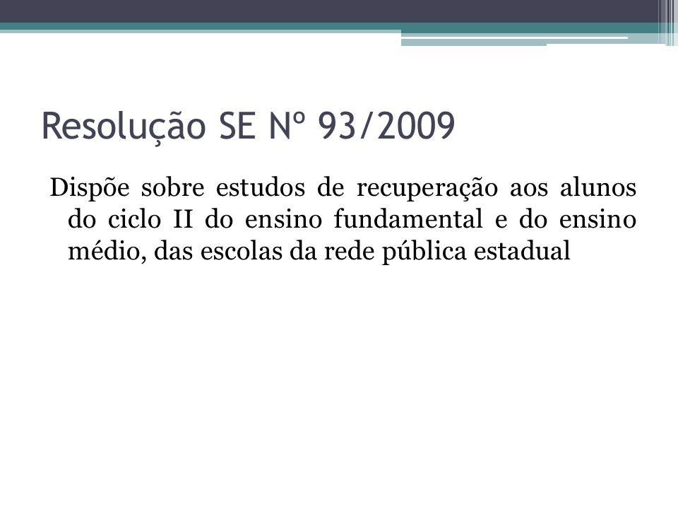 Resolução SE Nº 93/2009