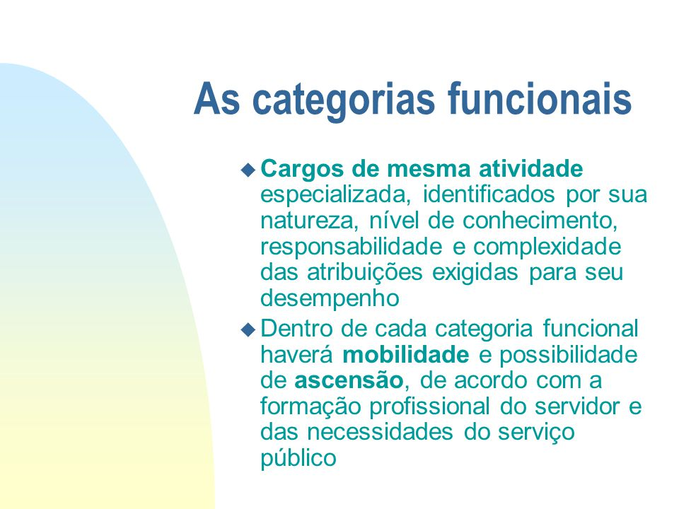As categorias funcionais