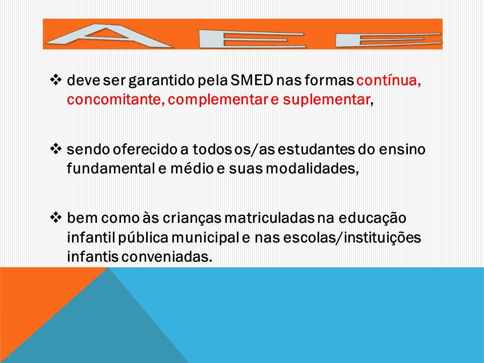 AEE deve ser garantido pela SMED nas formas contínua, concomitante, complementar e suplementar,