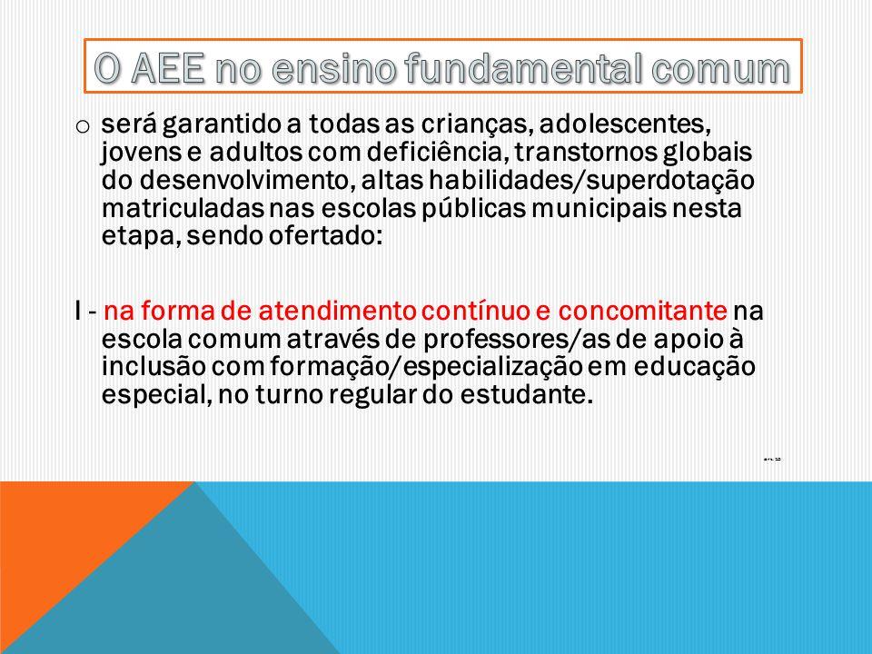 O AEE no ensino fundamental comum