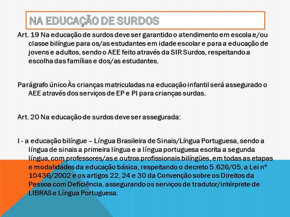NA EDUCAÇÃO DE SURDOS