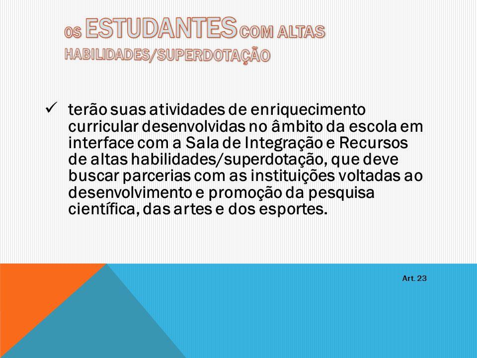 OS ESTUDANTES COM ALTAS HABILIDADES/SUPERDOTAÇÃO