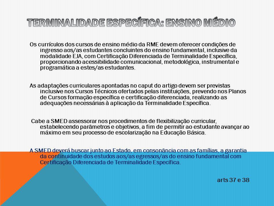 TERMINALIDADE ESPECÍFICA: ENSINO MÉDIO