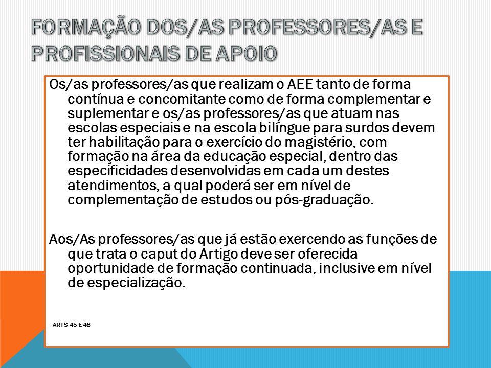 FORMAÇÃO DOS/AS PROFESSORES/AS E PROFISSIONAIS DE APOIO