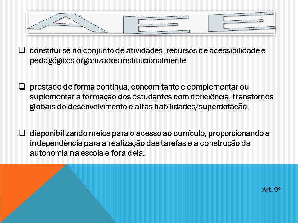 AEE constitui-se no conjunto de atividades, recursos de acessibilidade e pedagógicos organizados institucionalmente,