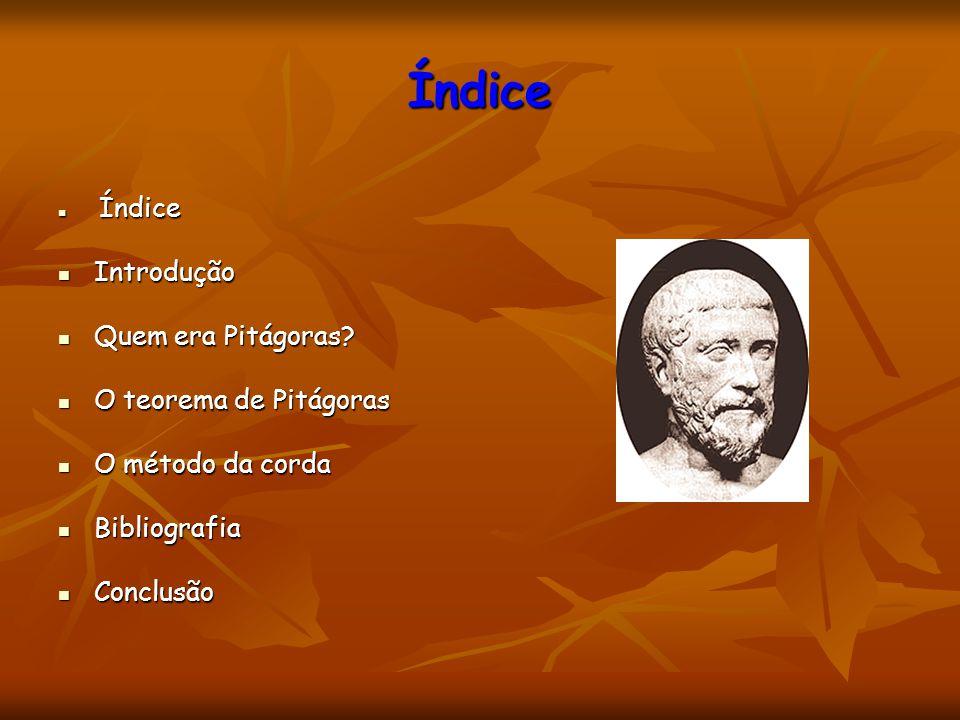Índice Introdução Quem era Pitágoras O teorema de Pitágoras