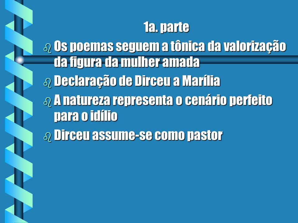 1a. parte Os poemas seguem a tônica da valorização da figura da mulher amada. Declaração de Dirceu a Marília.