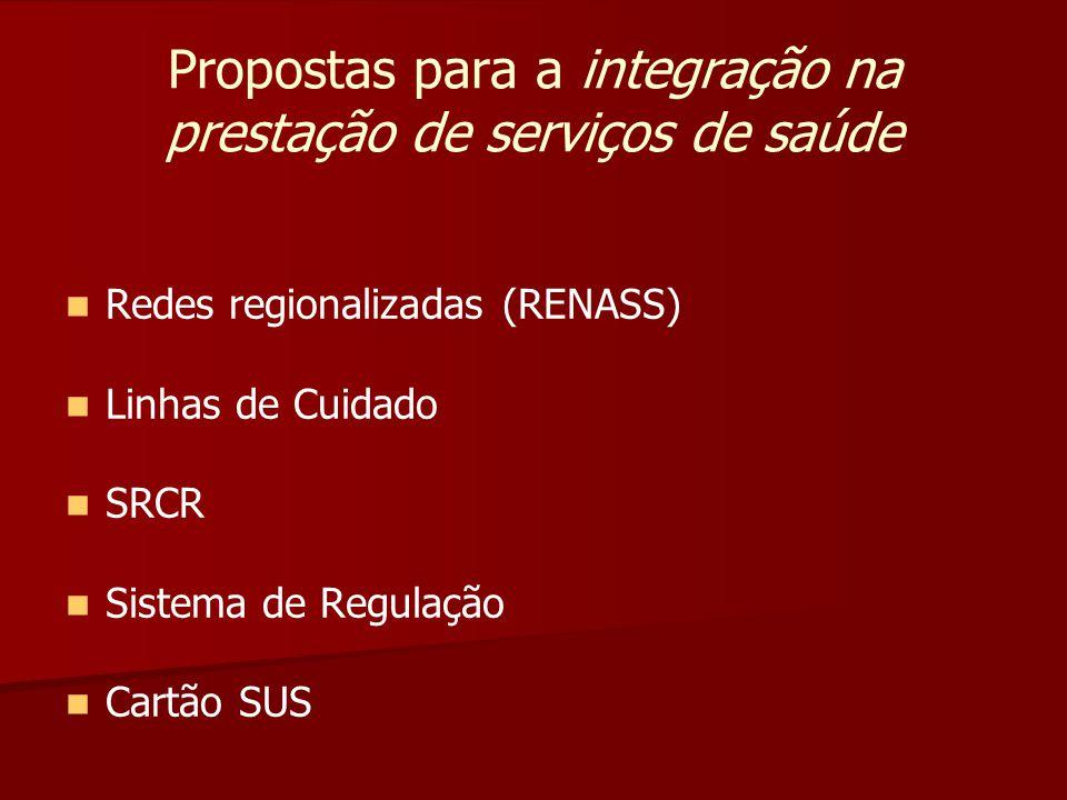 Propostas para a integração na prestação de serviços de saúde