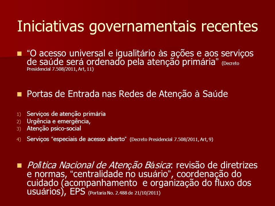 Iniciativas governamentais recentes