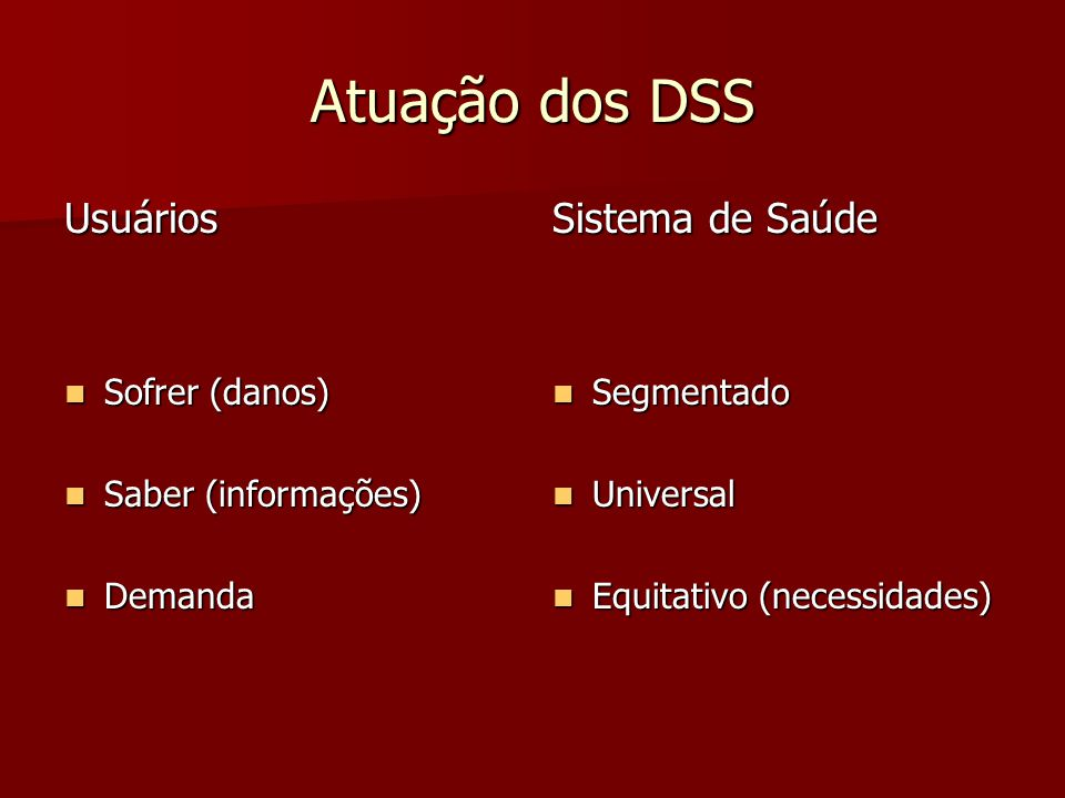 Atuação dos DSS Usuários Sistema de Saúde Sofrer (danos)