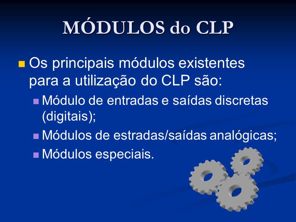 MÓDULOS do CLP Os principais módulos existentes para a utilização do CLP são: Módulo de entradas e saídas discretas (digitais);