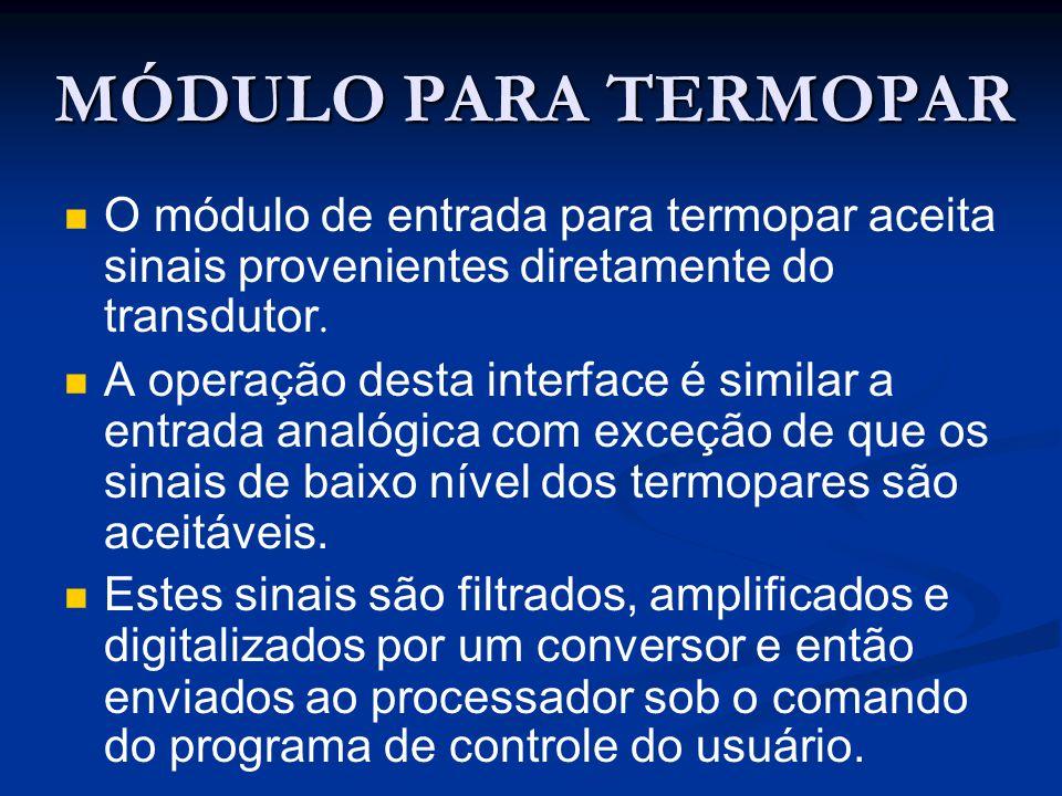 MÓDULO PARA TERMOPAR O módulo de entrada para termopar aceita sinais provenientes diretamente do transdutor.