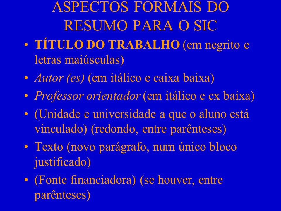 ASPECTOS FORMAIS DO RESUMO PARA O SIC
