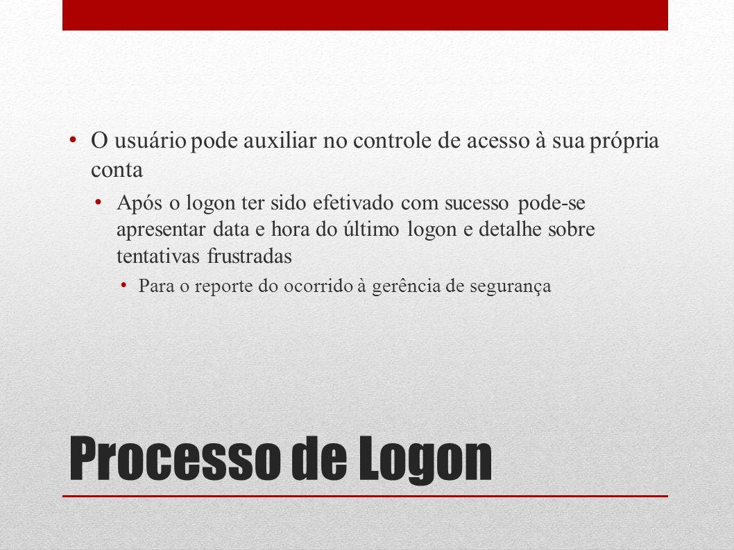 O usuário pode auxiliar no controle de acesso à sua própria conta