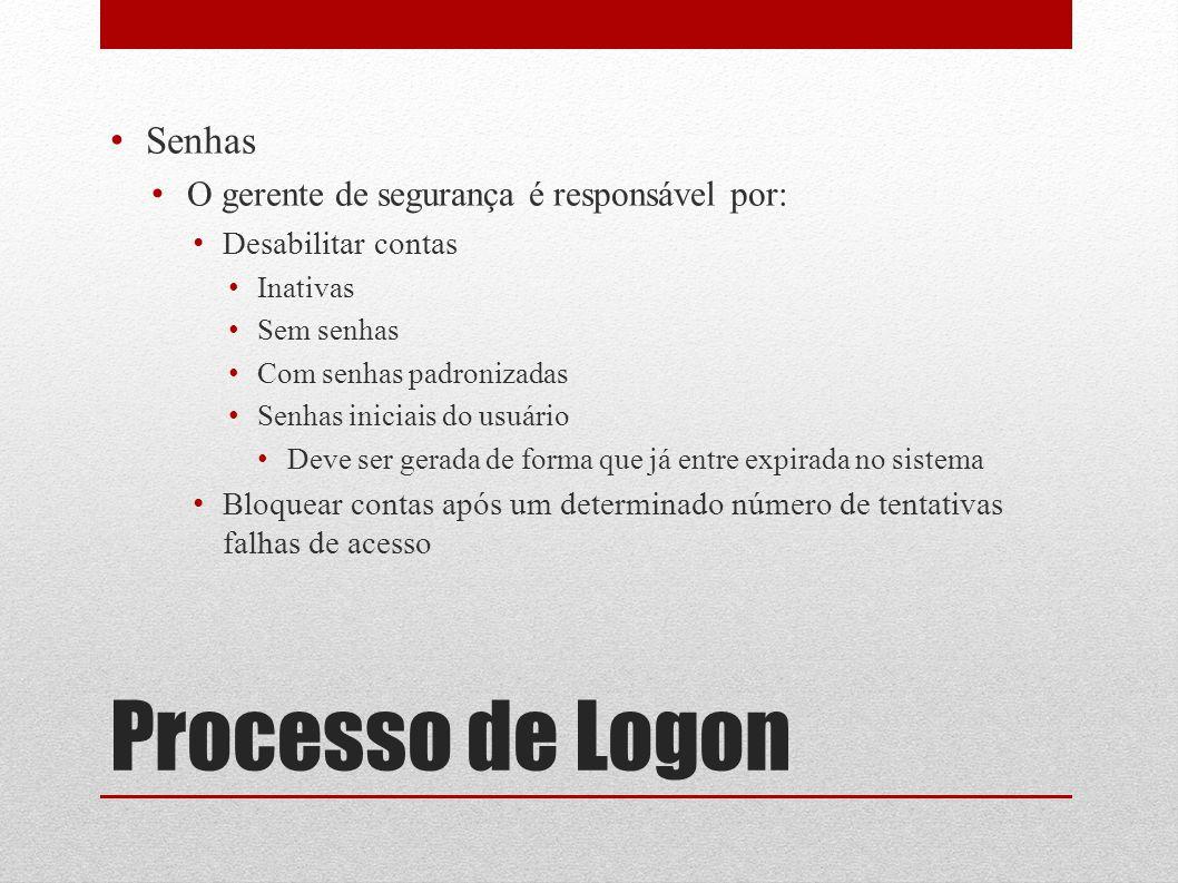 Processo de Logon Senhas O gerente de segurança é responsável por: