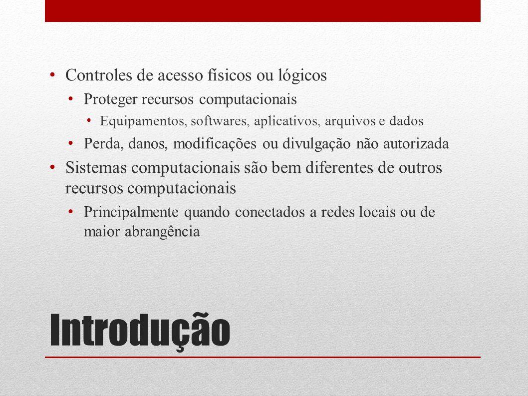 Introdução Controles de acesso físicos ou lógicos