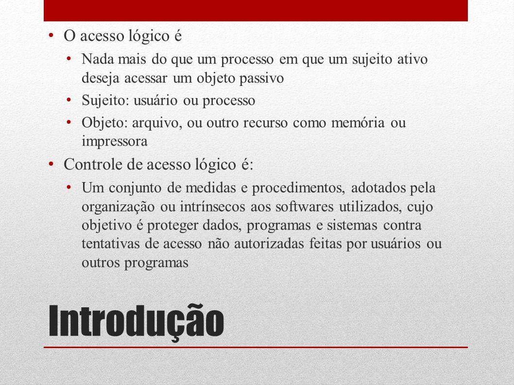 Introdução O acesso lógico é Controle de acesso lógico é: