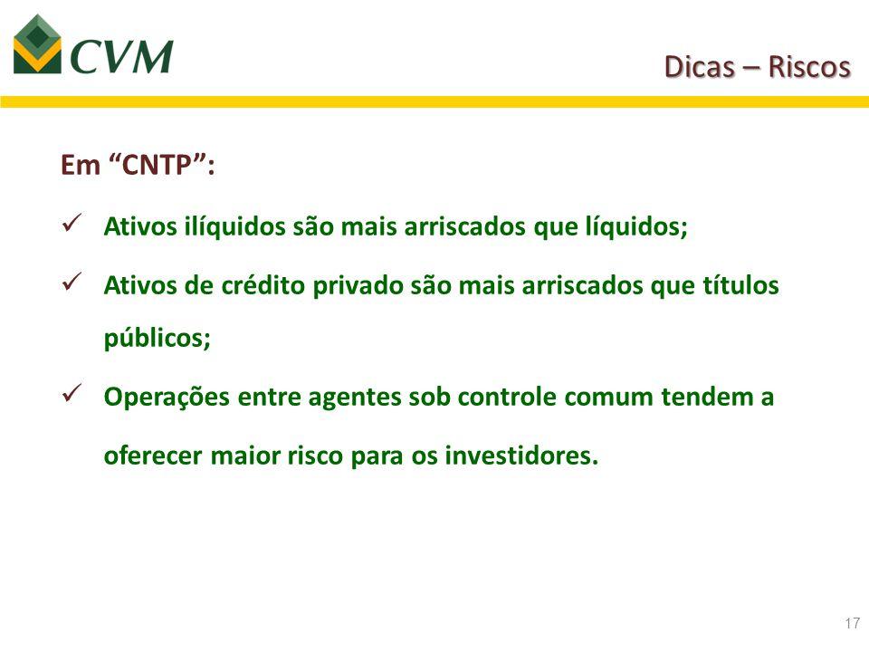 Dicas – Riscos Em CNTP :