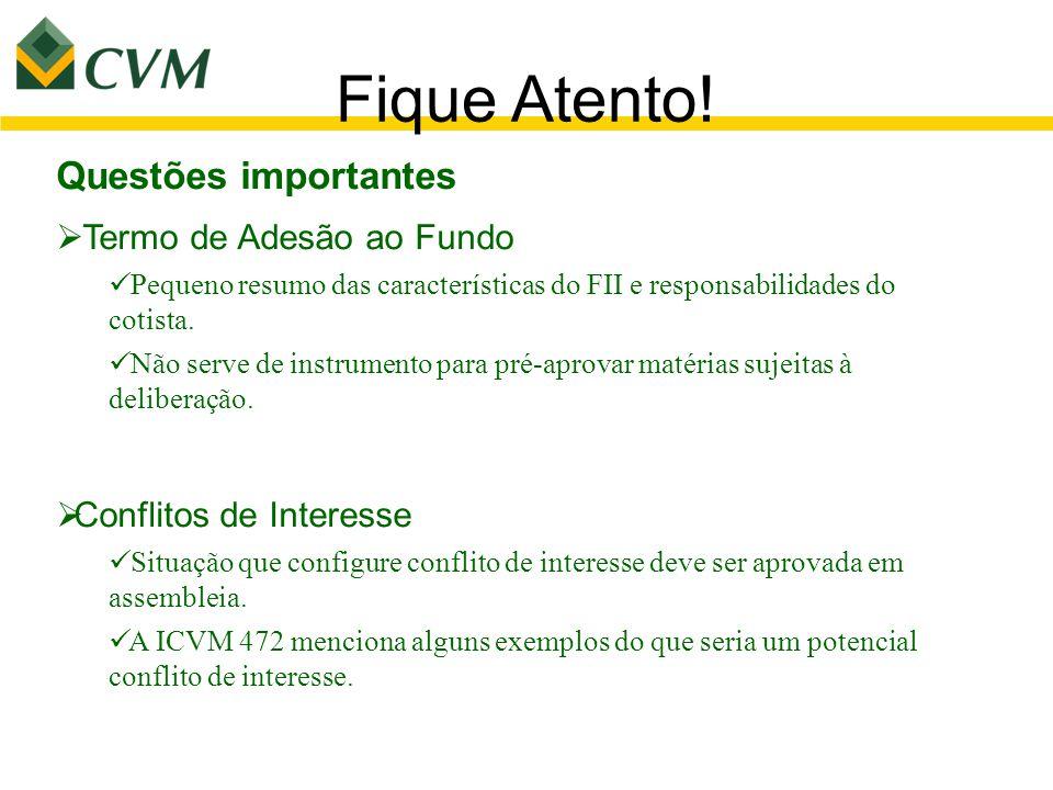 Fique Atento! Questões importantes Termo de Adesão ao Fundo