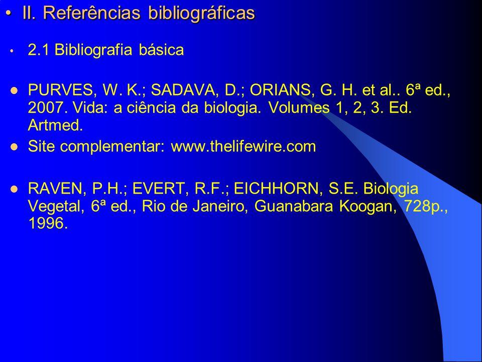 II. Referências bibliográficas