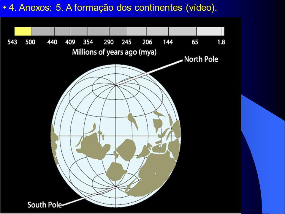 4. Anexos: 5. A formação dos continentes (vídeo).