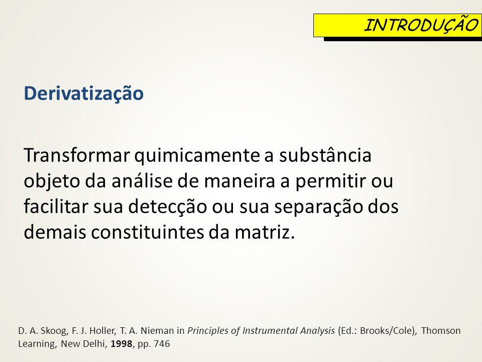 INTRODUÇÃO Derivatização.