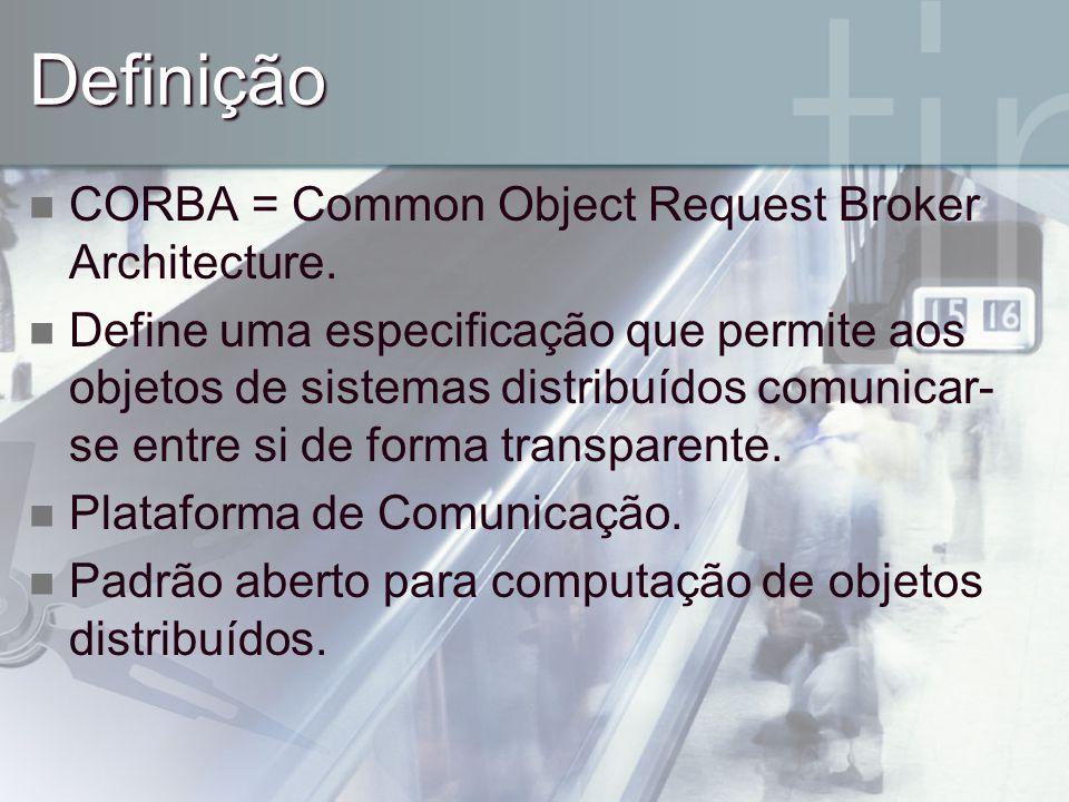 Definição CORBA = Common Object Request Broker Architecture.