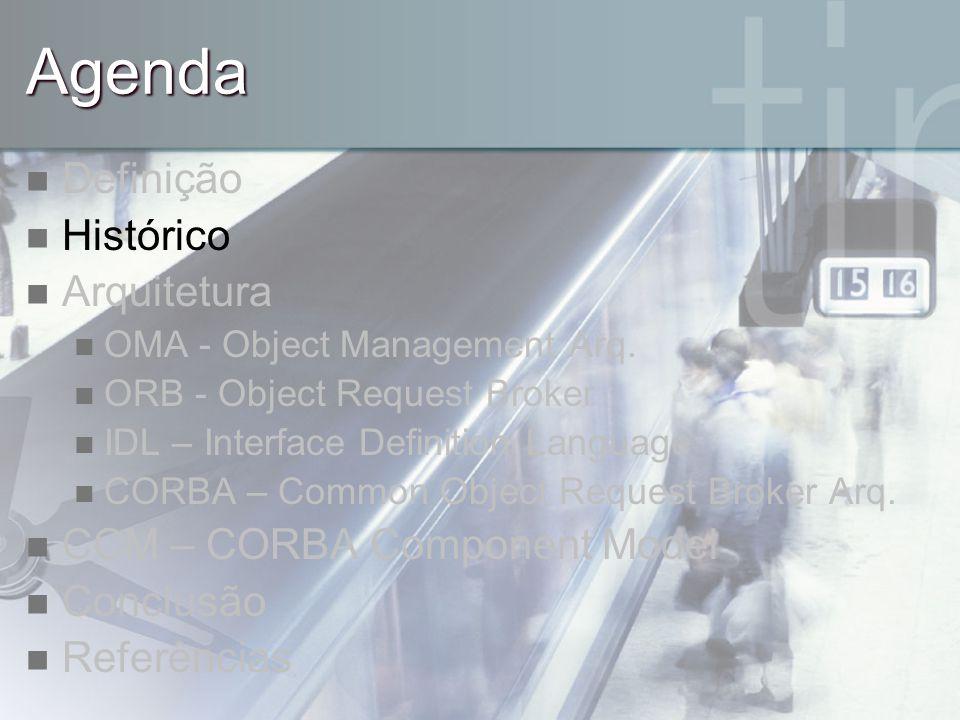 Agenda Definição Histórico Arquitetura CCM – CORBA Component Model