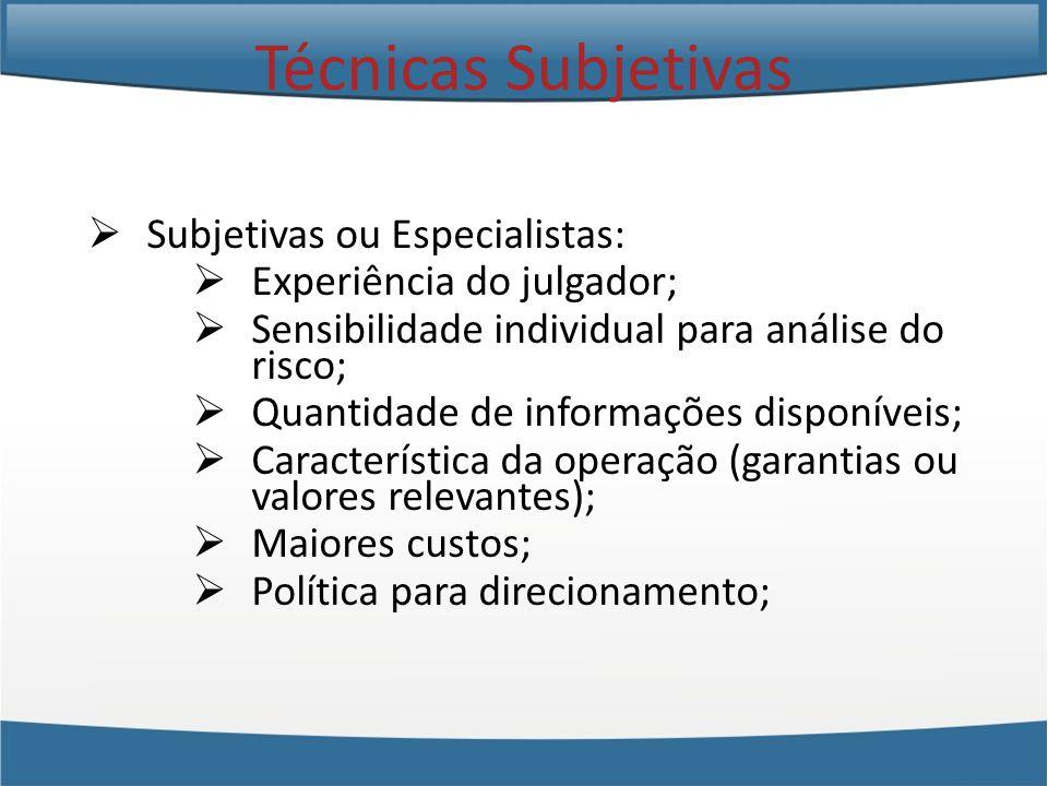 Técnicas Subjetivas Subjetivas ou Especialistas: