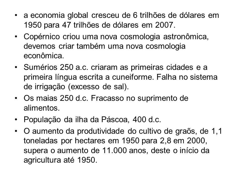 a economia global cresceu de 6 trilhões de dólares em 1950 para 47 trilhões de dólares em 2007.